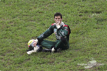 Mark Webber watches the race after his accident