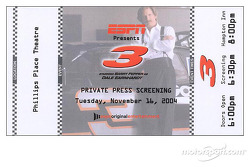 Presentation of the Dale Earnhardt made-for-television movie named '3': ticket for the private press screening