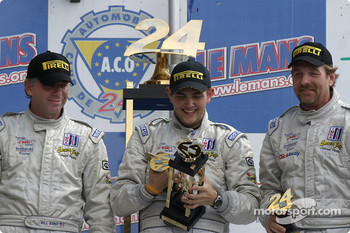 LM P2 podium: winners William Binnie, Clint Field and Rick Sutherland celebrate