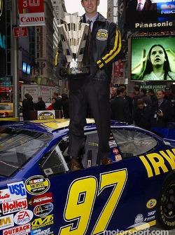 Kurt Busch poses with the Nextel Cup in Times Square