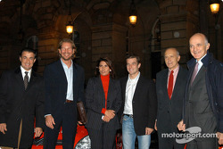 Press conference at the Automobile Club de France in Paris: Jean Alesi, Fredrik Johnsson, Michèle Mouton, Sébastien Loeb, Antonio Ghini (Ferrari) and Professeur Saillant (ICM)