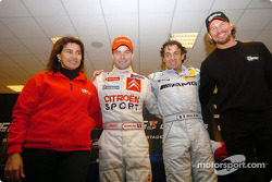 The Nations Cup 2004 winners Jean Alesi and Sébastien Loeb of Team France 1 with Fredrik Johnsson and Michèle Mouton