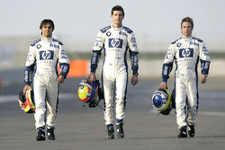 BMW WilliamsF1 drivers Antonio Pizzonia, Mark Webber and Nick Heidfeld