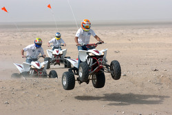 Antonio Pizzonia, Mark Webber and Nick Heidfeld on quad bikes