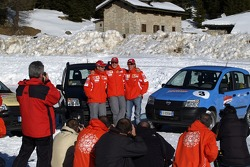 Fiat Panda race: Rubens Barrichello, Michael Schumacher and Luca Badoer