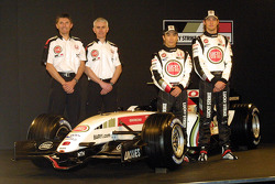 Nick Fry, Geoff Willis, Takuma Sato and Jenson Button