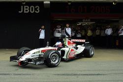 Jenson Button leaves the garage
