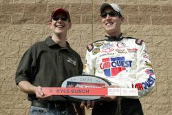 Pole winner Kyle Busch congratulated by brother Kurt