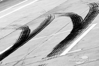 Tire rubber on pitlane
