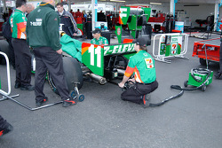 Warming up Tony Kanaan's engine