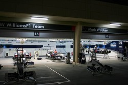 Williams-BMW garage area at night