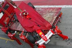 Ferrari of Marc Gene stopped on the track