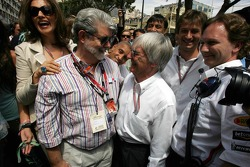 George Lucas, Bernie Ecclestone and Christian Horner
