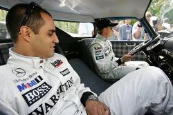 Mercedes-Benz on the Nordschleife photoshoot: Juan Pablo Montoya and Kimi Raikkonen in a vintage Mercedes-Benz transporter