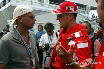 Guy Laliberté from Cirque du Soleil with Michael Schumacher