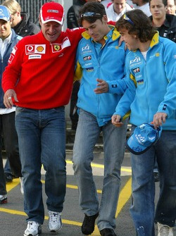Rubens Barrichello, Giancarlo Fisichella and Fernando Alonso