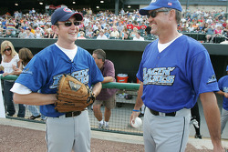 Kurt Busch and former Chicago Cub Ryne Sandberg share alaugh before the Racin' the Bases Celebrity Softball game benefitting the Victory Junction Gang Camp, a camp for children with chronic and life-threatening illnesses founded by the Petty family