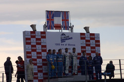LMP1 Podium: class and overall winners Jean-Christophe Boullion and Emmanuel Collard, with Sam Hignett, John Stack and Haruki Kurosawa, and Martin Short, Rob Barff and Vanina Ickx