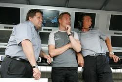 Norbert Haug, Mika Hakkinen and Hans-Jurgen Mattheis