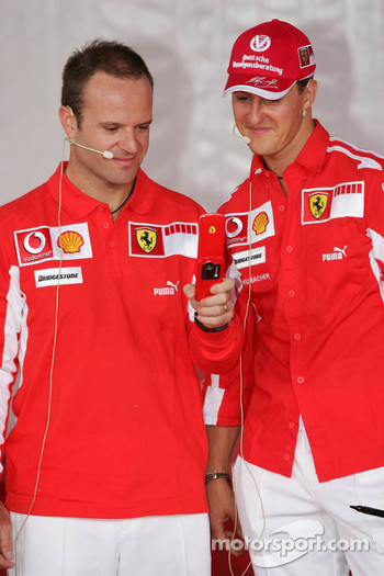 Vodafone event at Hockenheim Talhaus: Rubens Barrichello and Michael Schumacher