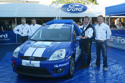 Launch of the Ford Fiesta ST Group N rally in Jyvaskyla: Heikki Westerlund, Jost Capito with M-Sport's Malcolm Wilson and Mika Salo