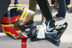 Tomas Enge's helmet sits on the pit wall