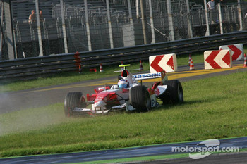 Olivier Panis spins off the track