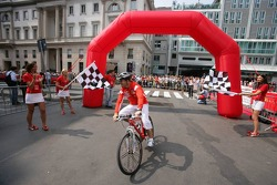 Vodafone race event in Milan: Rubens Barrichello rides a mountain bike