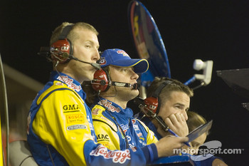 Kellogg's Chevy crew members watch the end of the race