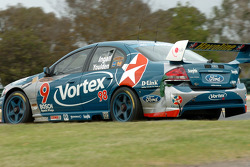 Russell Ingall sporting damage to the Caltex Ford