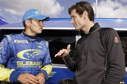 Stephane Sarrazin talks with F1 driver Mark Webber