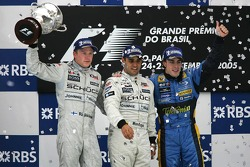 Podium: race winner Juan Pablo Montoya with Kimi Raikkonen and Fernando Alonso