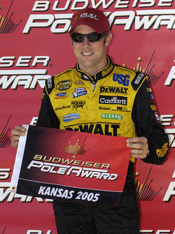 Pole winner Matt Kenseth celebrates