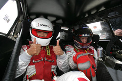 Singer Carla Vallet in the Audi A4 DTM race taxi driven by Peter Terting
