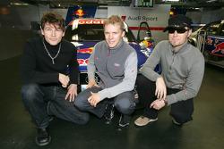 Mattias Ekström with members of the band A-ha