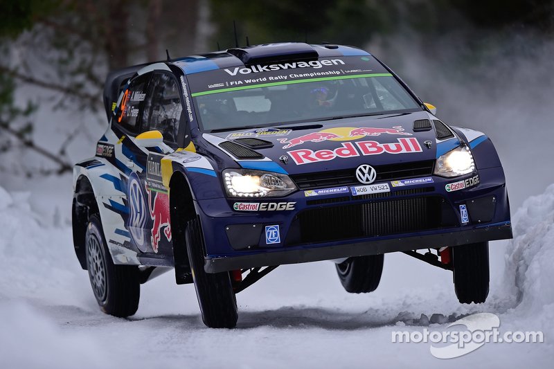 andreas mikkelsen and ola floene volkswagen polo wrc volkswagen motorsport at rally sweden. Black Bedroom Furniture Sets. Home Design Ideas