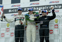The National Class podium for race 1 Jonathan Kennard, Charlie Hollings, Barton Mawer