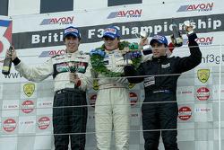 The National Class podium for race 1 Jonathan Kennard, Charlie Hollings, Barton Mawer