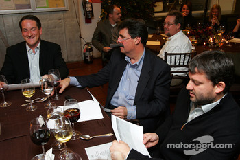 Tony Stewart, NASCAR President Mike Helton and Sprint Nextel Vice President of Sports Marketing Michael Robichaud