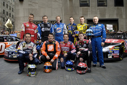 The 10 drivers who qualified for the Chase for the NASCAR NEXTEL Cup pose for a photo at Rockefeller Plaza