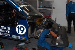 Front end repairs to #19 Ten Motorsports BMW Riley after off-course excursion