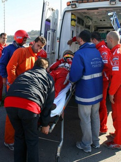 Luca Badoer after his crash