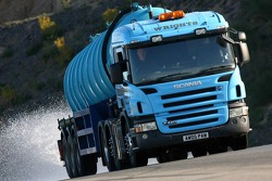 The water tanker wets the circuit for the Bridgestone wet testing