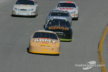 Joe Nemechek leads Kyle Petty