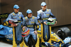 Heikki Kovalainen, Fernando Alonso and Giancarlo Fisichella