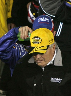 Victory lane: Mountain Dew shower on Rick Hendrick, courtesy of Brian Vickers