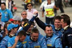 Renault F1 team members celebrate