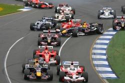 First corner: Felipe Massa and Christian Klien collide