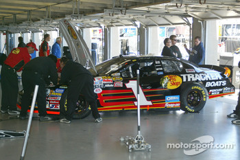 Martin Truex's car in the garage