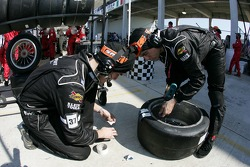 Intersport Racing team members prepare wheels